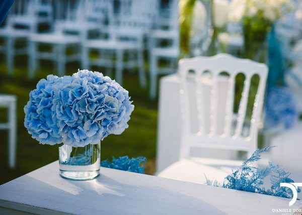 blue hydrangea wedding in Rome